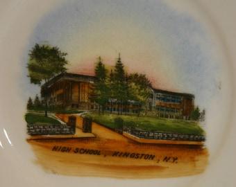 Kingston New York High School Plate Bavaria Germany Souvenir Plate Vintage