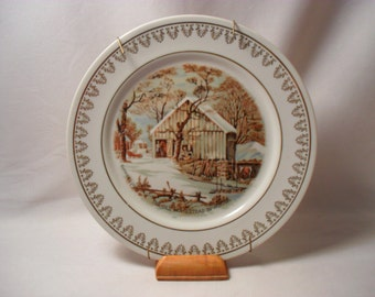 Old Homestead in Winter Currier and Ives Plate