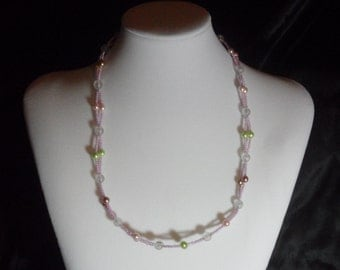 Pink, Green, and Clear seed beed Necklace