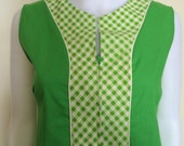 Vintage 1960's Lime Green Gingham House Dress