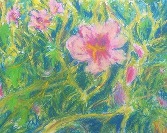 Original Flowers and Vines Pastel Art on Paper Pink Decorative Floral by Niki HIlsabeck