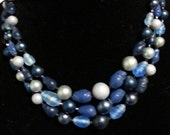 Triple Strand Glass Bead Necklace, Vintage Japan