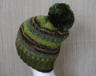 Merino Wool ,Green,Brown Striped   Colorful Hand Knit Hat with Pom Pom for Men or Women