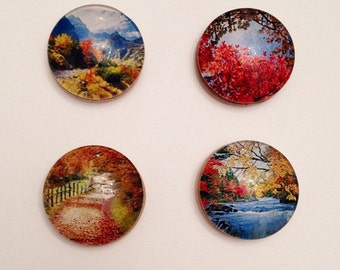Autumn scenery magnets, set of 4