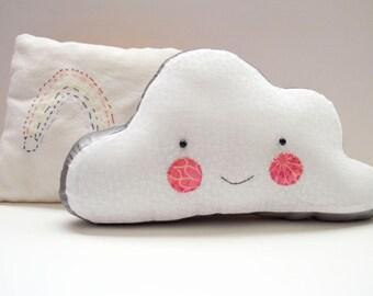 plush cloud pillow: Silver Lining, happy cloud, rosey rag doll