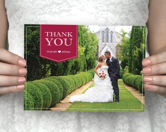 DIY printable custom wedding photo thank you card - Mariah & Ethan.
