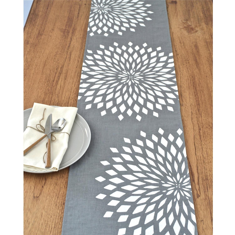 Graphic zinnia modern linen table runner multi sizes grey - Runner da tavolo moderno ...