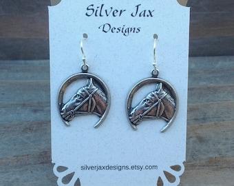 Silver Horse Earrings, Horseshoe Earrings, Western, Cowgirl, Equestrian, Gift for Her
