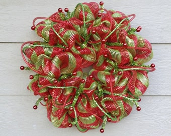 Christmas Wreath - Red and Lime Green - Seuss