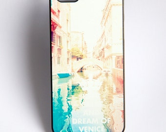 Iphone 5, 5S, Keep Calm and dream of Venice text and vintage style shabby chic photo of Venice, new iphone cover, Italy, Venezia
