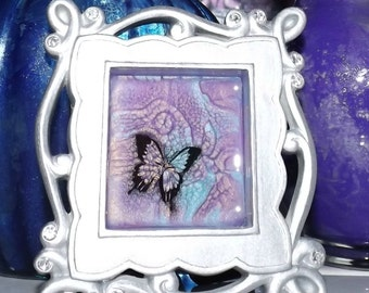 Fractal Flight Hand Painted Marble Framed Glass Art