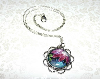 Midnight Fractal Floral Marble Necklace