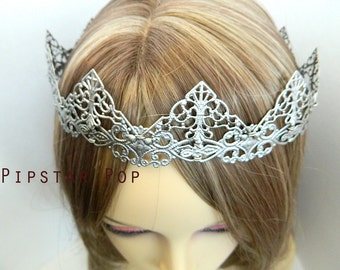 Antique Silver Filigree Medieval Crown (CR03) Princess style metal link crown for Larp, renaissance fair, and elven wedding