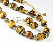 Tiger Eye Necklace, Antique Gold Pewter, TierraCast, semi precious, natural, golden-brown gemstone, fashion statement necklace, gift, NL2889