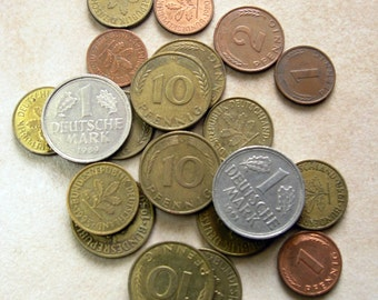German Coins, Old Deutsch Mark Coins, Lot Vintage German Coins, Set of 22 Collectible Coins from 1949 to 1996, Germany Vintage Coin Set