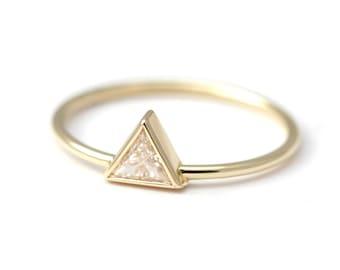 Trillion Diamond Ring - Diamond Engagement Ring - 0.2 Carat Trillion Diamond - 18k Solid Gold