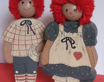 Hand Painted Raggedy Ann and Andy, Wood
