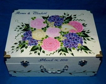 Custom Painted Wedding Box Suitcase Keepsake Marriage Trunk Decorative Bridal Shower Gift Card Box Personalized Hydrangea Rose Bouquet White