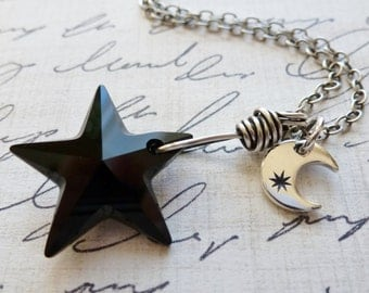 Black Crystal Star & Sterling Silver Moon Charm Necklace / Celestial / Oxidized Sterling Silver / SimplyJoli / Crescent Moon