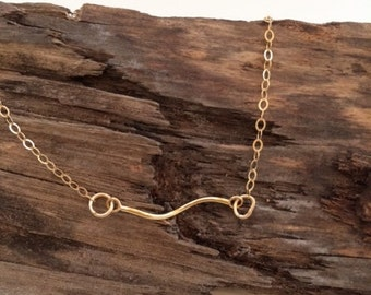 Twisted Gold Bar Necklace