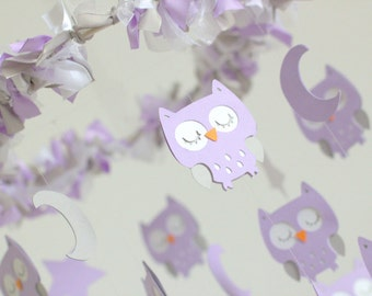 Owl Nursery Mobile in Lavender, Gray & White- LARGE SIZE Baby Mobile, Crib Mobile, Baby Shower Gift