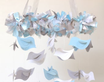 Bird Nursery Mobile in Baby Blue, Gray & White