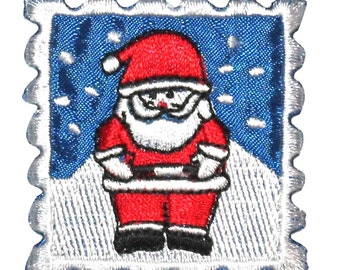 ID #8202C Christmas Santa Holiday Stamp Badge Embroidered Iron On Applique Patch