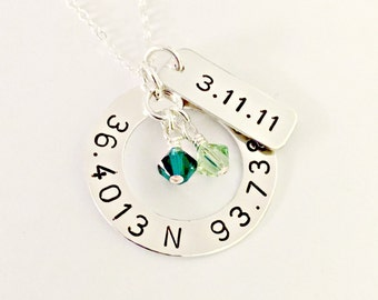 Personalized Latitude Longitude Coordinates Necklace with Date Disc - Custom Hand Stamped Location Jewelry - Swarovski Crystals -Anniversary