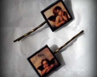 Handmade Polymer Clay Raphael Angels Antique Bronze Bobby Pins Set