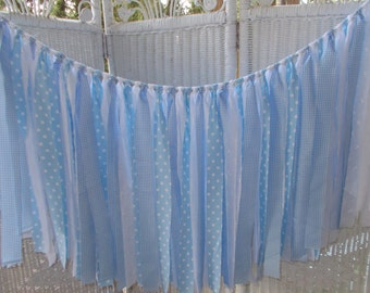 Blue and White Fabric Garland- Baby Shower, Nursery, Wedding, Birthday