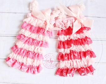 Baby Girl Clothing..Lace Petti Romper..Hot Pink Romper ..Newborn Outfit..Baby's Birthday Outfit..Photography Prop..