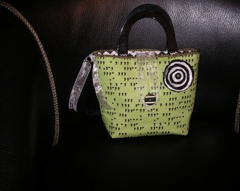 Modern green and black comma handmade handbag