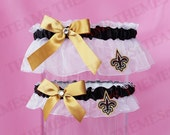 set New Orleans Saints handmade bridal garters - wedding party garter set