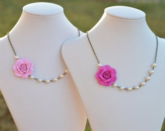 Fuchsia Rose And Pearl Asymmetrical Necklace, Pink Rose Asymmetrical Necklace, Pink Bridesmaid Necklace
