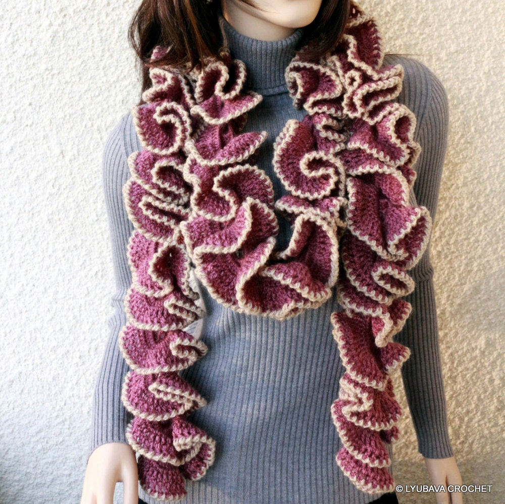 Crochet Patterns Ruffle Scarf : Crochet PATTERN Scarf Ruffle Scarf Crochet by LyubavaCrochet