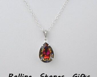 "925 Sterling Silver 18x13mm Swarovski Volcano Teardrop 925 Sterling Silver 18"" Necklace-Swarovski Pear Necklace Sterling Silver Necklace"