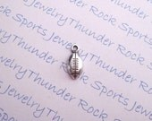 10 Antique Silver Small Football Sports Ball Charms Pendants