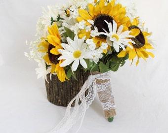 Sunflower Bouquet, Rustic Wedding Bouquet, White Daisies Bouquet, Rustic Wedding Bouquet, Sunflower Rustic Barn Wedding - 11 pieces