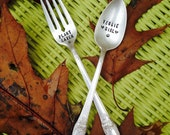 Stamped Silverware gift set - Veggie Girl & Plant Eater - silly Vegetarian Vegan fork and spoon - vintage upcycled