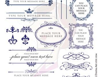 ROYAL BLUE Wedding Clipart DIY Invitations Digital Oval Frame Scrapbook Embellishment Calligraphy Design Elements Vintage Frames Png 10431