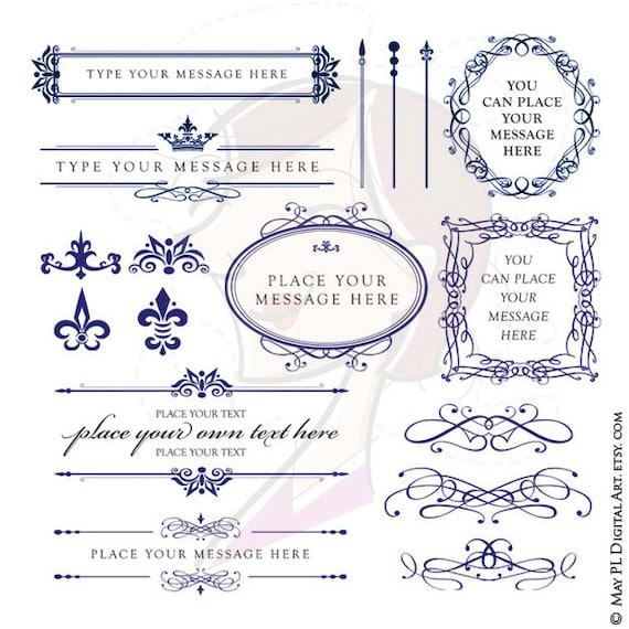 ROYAL BLUE Wedding Clipart DIY Invitations By MayPLDigitalArt
