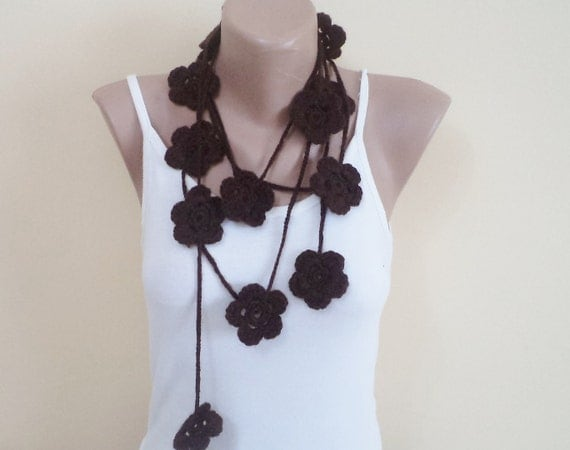 Crochet Scarf Accessories Crochet Lariat Necklace Jewellery Scarves Winter Scarf handmade scarf fashion for her gifts