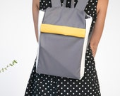 iPad backpack small grey yellow backpack gray yellow rucksack laptop backpack laptop grey yellow rucksack small laptop fold over backpack
