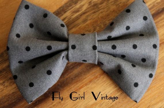 Vintage 1950's Style Hair Bow Clip- Grey-Black-Polka Dot- Fabric Hair Bow-Rockabilly-Pin Up- Mod- For Women, Teens, Girls-Punk-Goth