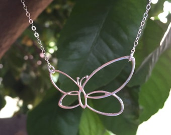 Sterling Silver Butterfly Necklace / Mother's Day Gift Idea / Butterfly Jewelry / Silver Butterfly / Large Butterfly Necklace