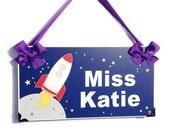custom dark blue space themed teachers classroom door sign rocket wall plaque - all colors available - P264