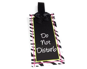 please knock / do not disturb zebra print theme teacher classroom sign doorknob hanger - SD30