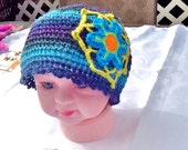 SALE------- BABY HAT --crochet flower hat -crochet baby hat -knitted baby hat