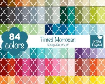Tinted Quatrefoil Digital Papers - Rainbow Moroccan Papers - Mosaic Tile Scrapbook Papers - Huge Paper Pack- INSTANT Download