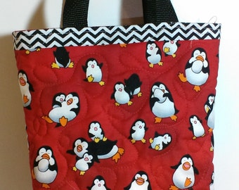 Handmade quilted tote bag, smaller size in red with penguins, kids tote bag
